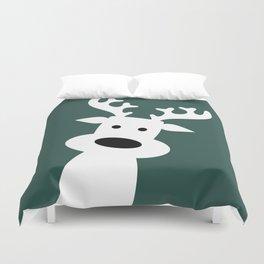 Reindeer on green background Duvet Cover
