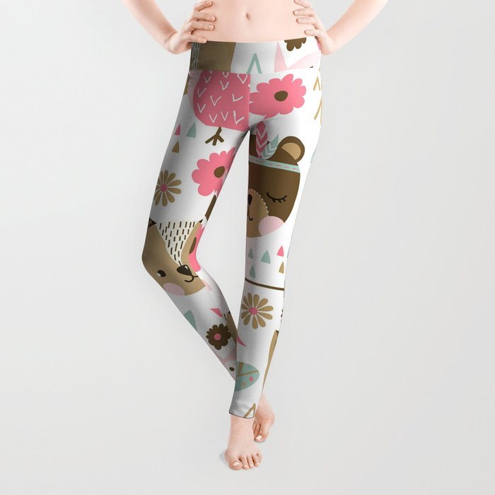Pink Boho Animals Leggings