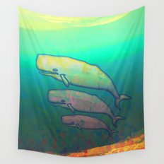 Whales Swimming Together Wall Tapestry