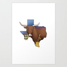 Texas Cattle Art Print