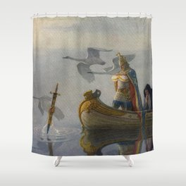 King Arthur and Excalibur Shower Curtain