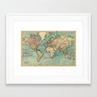 vintage map Framed Art Prints featuring Vintage map by Hipster's Wonderland