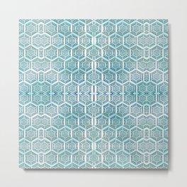 Silver Grid Metal Print