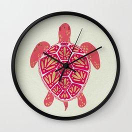 Sea Turtle in Pink & Gold Wall Clock