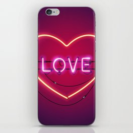 Pink Love in the Heart Neon Sign iPhone Skin