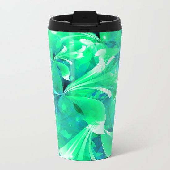 Stylized flowers in green Metal Travel Mug