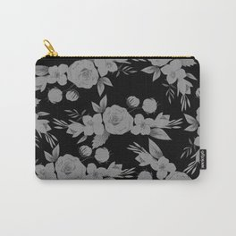 Black white modern hand painted watercolor floral Carry-All Pouch
