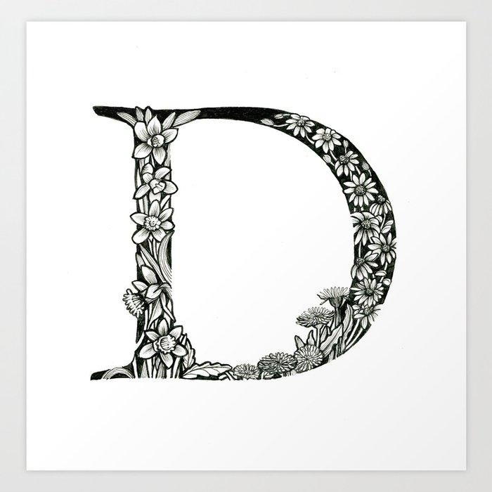 Illustrated Alphabet Letters D Art Print