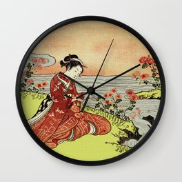 Transformation of Kikujido - Vintage Japanese Woodblock Wall Clock