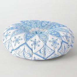 Blue Mandala Spirograph Art Pattern Design Rosette Floor Pillow