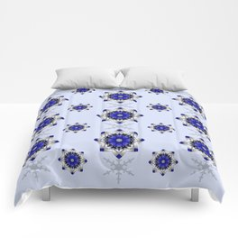Magical snowflakes in blue, silver and grey Comforters