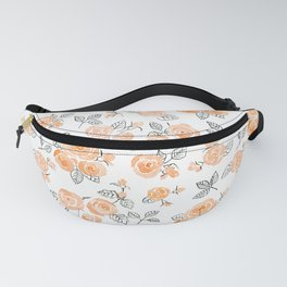 Peach watercolor roses pattern Fanny Pack