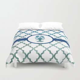 Lobster: Tropical Water Moroccan Pattern Duvet Cover