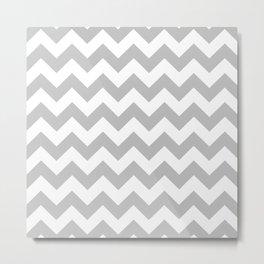 Chevron (Silver/White) Metal Print