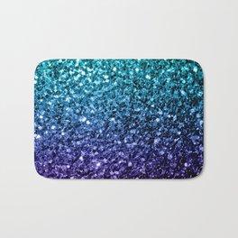 Beautiful Aqua blue Ombre glitter sparkles Bath Mat