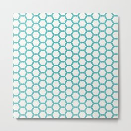 Simply Blue White Metal Print