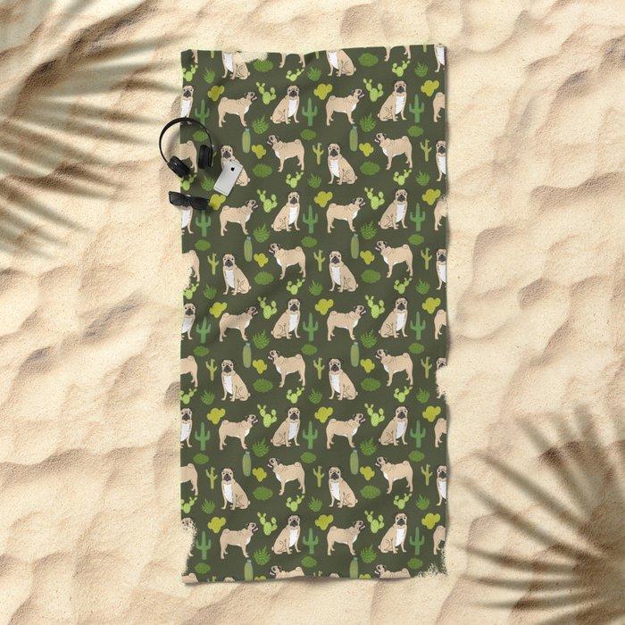 Pug Cactus succulent southwest cute children fur baby pug dog art pet portrait funny animals Beach Towel