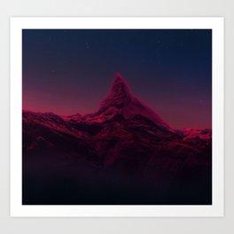 Pink mountains at night Art Print