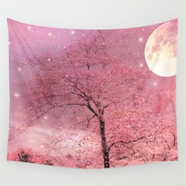 Surreal Fantasy Fairy Tale Pink Nature Trees Stars Full Moon Wall Tapestry