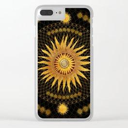 """Black & Gold Vault Mandala"" Clear iPhone Case"