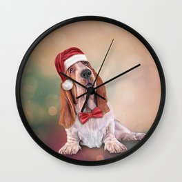 Drawing funny dog. Basset Hound in red hat of Santa Claus Wall Clock