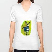 donkey V-neck T-shirts featuring Donkey by t i t i l l a