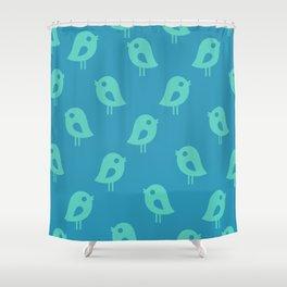 Little Birds (blue) Shower Curtain