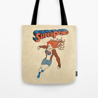 amy pond Tote Bags featuring SUPER POND by sophiedoodle