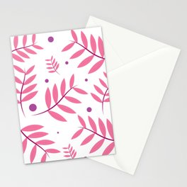 Pink Leaves Big Stationery Cards