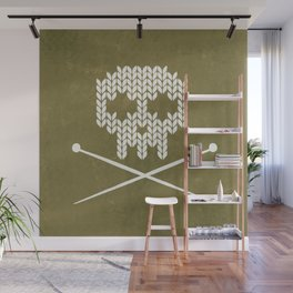 Knitted Skull / Knitting with Attitude (white on olive yellow) Wall Mural
