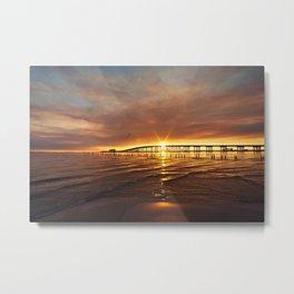 Smoky Biloxi Bay Sunset Metal Print