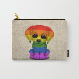 Cute Puppy Dog with Gay Pride Rainbow Flag Carry-All Pouch