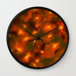 Glowing Ember Floral Abstract Wall Clock