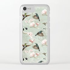 Vintage Watercolor hummingbird and Magnolia Flowers on mint Background Clear iPhone Case