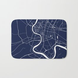 Bangkok Thailand Minimal Street Map - Navy Blue and White II Bath Mat