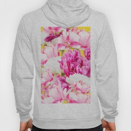 Beauties of nature - large pink flowers on a yellow background Hoody