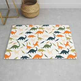 Dinos in Pastel Green and Orange Rug