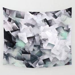Geometric Stacks Mint Grays Wall Tapestry