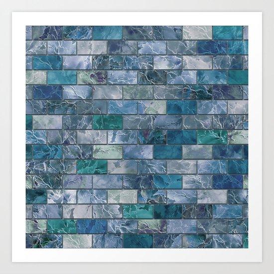 Frozen Leaves Tile Pattern Art Print