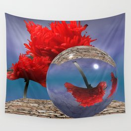 poppy and crystal ball - refraction of light Wall Tapestry