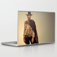 clint eastwood Laptop & iPad Skins featuring Clint Eastwood by Thousand Lines Ink
