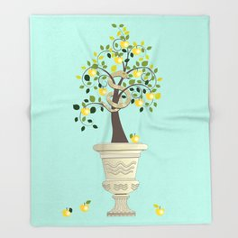 Guarding Golden Apples Throw Blanket