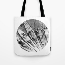 Vintage Girls on Surfboards Tote Bag
