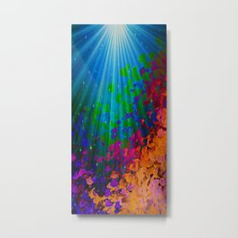 UNDER THE SEA Bold Colorful Abstract Acrylic Painting Mermaid Ocean Waves Splash Water Rainbow Ombre Metal Print