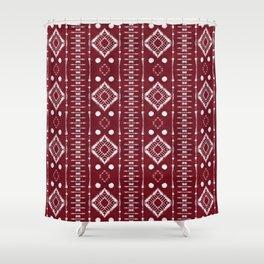"Shibori Style ""Ladder"" on Red Shower Curtain"