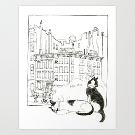 Cats In The Village Art Print