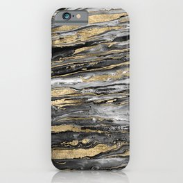 Stylish gold abstract marbleized paint iPhone Case