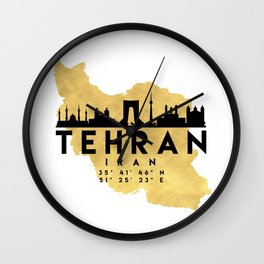 TEHRAN IRAN SILHOUETTE SKYLINE MAP ART Wall Clock