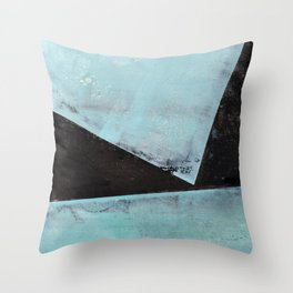 Aqua and Black Minimalist Geometric Abstract Throw Pillow