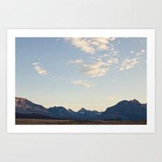 Glacier Mountains at Sunset Art Print